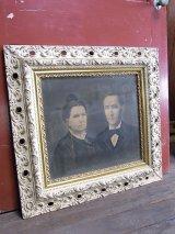 アンティーク ビクトリアン フレーム 装飾付き ウォールオーナメント 肖像画 夫婦 額縁 ビンテージ その1