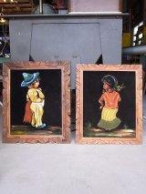 アンティーク ウォールオーナメント 絵画 ベルベットアート 2pcs set 額縁付 男の子 女の子 ビンテージ