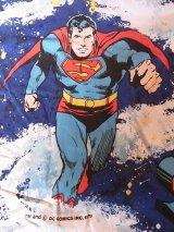 アンティーク カーテン ファブリック 生地 絵柄 スーパーマン ビンテージ その1