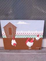 アンティーク ファブリックパネル marushka 壁掛け絵画 ニワトリと花と小屋 シルクスクリーン ビンテージ