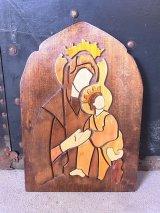 アンティーク 壁掛け アートピース オブジェ 聖母マリア ウッド ビンテージ