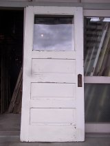 アンティーク ガラス窓付木製ドア ホワイト×ウッド ビンテージ