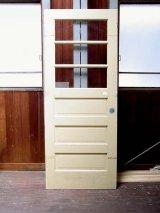 アンティーク 3分割ガラス窓付木製ドア ホワイト×イエロー ビンテージ