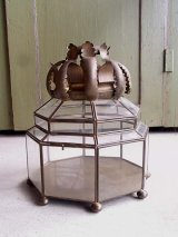 アンティーク ビクトリアン アクセサリーケース ディスプレーケース 真鍮フレーム 8角形 ビンテージ