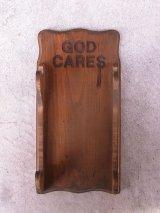 GOD CARES 壁掛けオブジェ ウッド ウォールオーナメント アンティーク ビンテージ
