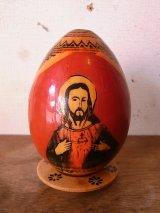 イエス キリスト マリア エッグ型オブジェ ウッド アンティーク ビンテージ