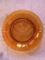 灰皿 アッシュトレイ アンバーガラス 合衆国 国章 ハクトウワシ アンティーク ビンテージ