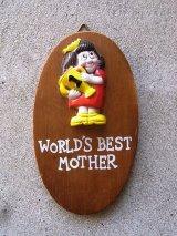 メッセージドール 人形 壁掛け world's best mother ウォールデコ ウォールオーナメント アンティーク ビンテージ