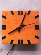 1960'S ウォールクロック クラフトクロック ミッドセンチュリーモダン 壁掛け時計 ウッド 四角 アンティーク ビンテージ