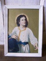 聖人 ジーザス? oldシルクスクリーンプリント 絵画 ウッドフレーム ウォールオーナメント 壁掛け アンティーク ビンテージ