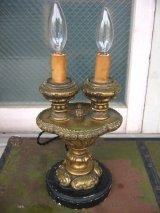 1920'S 30'S ヴィクトリアン テーブルランプ 2灯 燭台モチーフ 装飾 ウッド アンティーク ビンテージ