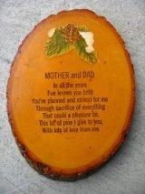MOTHER and DAD ウッド 壁掛け ウォールオーナメント アンティーク ビンテージ