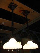 1890'S 1900'S 1910'S アーリーエレクトリック シーリングライト ミルクガラスシェード 真鍮 銅メッキ ジャパンドメッキ アンティーク ビンテージ
