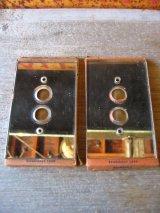 アメリカ製 1910'S 20'S NOS デッドストック スイッチ ギャング プレート 1口 ガラス ミラープレート プッシュボタンスイッチ用 アンティーク ビンテージ