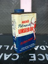 オイル缶 LINSEED OIL ティン缶 アドバタイジング アンティーク ビンテージ