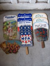 1920'S ~ 50'S ペーパーファン 15枚セット 広告うちわ 厚紙 ウッド アドバタイジング アンティーク ビンテージ