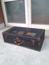 1920'S 30'S HORN LUGGAGE トランク 中型 スーツケース ステッカー付 店舗什器に アンティーク ビンテージ