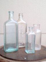 ガラスボトル クリアボトル ブルー 一輪挿し アドバタイジング アンティーク ビンテージ