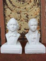 アンティーク オブジェ モーツァルト ミニバスト MOZART 1756-1791 メンデルスゾーン MENDELSSOHN 1809-1847 胸像 ビンテージ