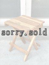 フォールディングサイドテーブル スツール ウッド ランタンテーブル ジャグ置き 木製 BYER 風 BLUERIDGE 風 ビンテージアウトドア アンティーク ビンテージ