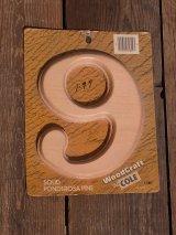 アンティーク ハウスナンバープレート 9 パイン木材 デッドストック