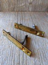 コンシールド プルハンドル 2PCS/SET ベースメントリッドプル 床下収納の取手 戸袋に完全に収まるようなスライドウインドー 引戸金物 真鍮 アンティーク ビンテージ