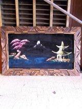 アンティーク 絵画 ベルベットアート 額縁付 和風 ビンテージ