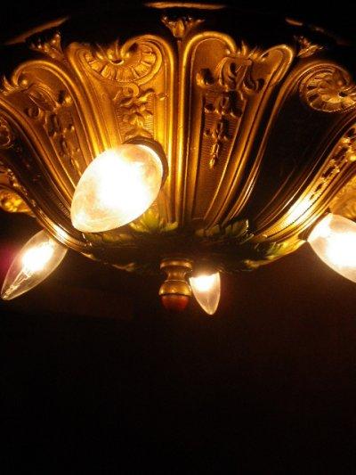 画像4: アンティーク アーリーエレクトリック 鋳物 シーリングライト 4灯 装飾 1900-1930's ビンテージ