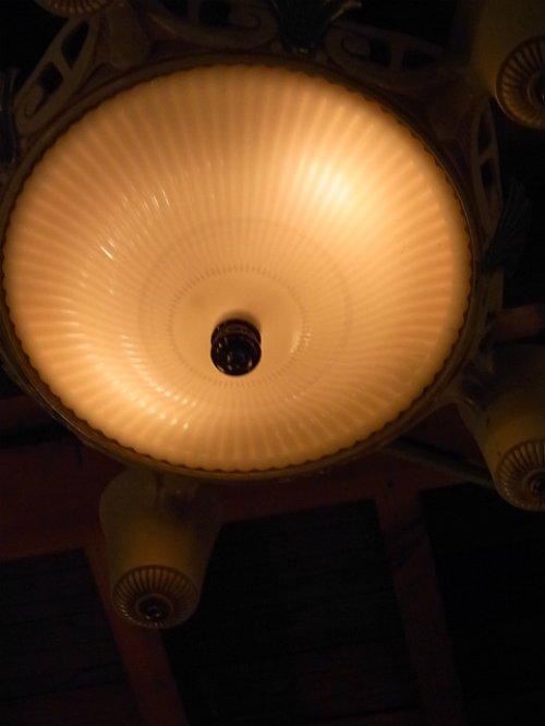 other photographs.2: 1930'S アンティーク アールデコ ペンダントランプ 5灯+2灯 装飾 シャビーホワイト シャンデリア ビンテージ