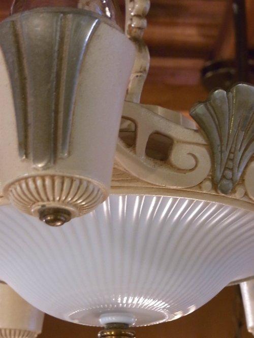 other photographs.1: 1930'S アンティーク アールデコ ペンダントランプ 5灯+2灯 装飾 シャビーホワイト シャンデリア ビンテージ