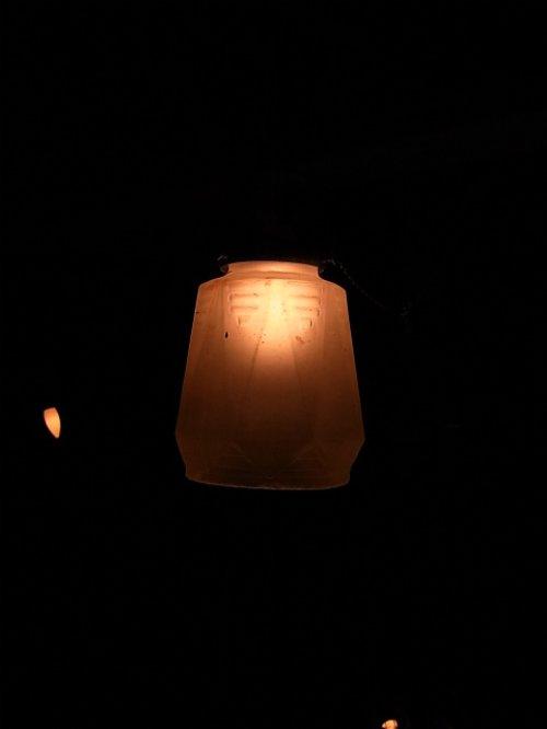 other photographs.1: アンティーク アールデコ シーリングペンダントライト 1灯 柄曇りガラスシェード ビンテージ