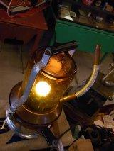アンティーク ヴェポライザー改造ランプ アンバーガラスシェード ビンテージ