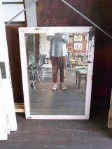 アンティーク フレーム付き鏡ミラー ホワイト木枠 ビンテージ