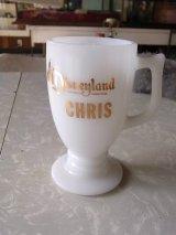 アンティーク ミルクガラス マグカップ Disneyland CHRIS ビンテージ