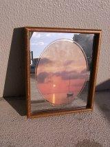 アンティーク フレーム付き鏡ミラー プリント入り ビンテージ