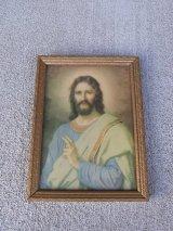 アンティーク ウォールオーナメント キリスト 小ぶり 装飾額縁 ビンテージ