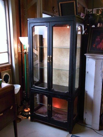 画像2: アンティーク ガラス ショーケース キッチン キャビネット ウッドフレーム 1940'S