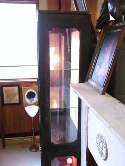 画像3: アンティーク ガラス ショーケース キッチン キャビネット ウッドフレーム 1940'S