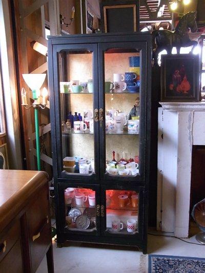 画像1: アンティーク ガラス ショーケース キッチン キャビネット ウッドフレーム 1940'S