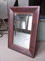 アンティーク フレーム付き鏡 ビクトリアン時代 シンプルミラー 木枠 19世紀末頃 ビンテージ