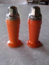 アンティーク ミルクガラス デコ デザイン artdeco 1930'S  ソルト&ペッパー 2pcs set オレンジ ビンテージ