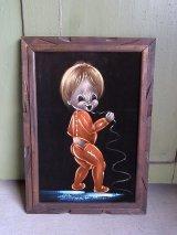 アンティーク 絵画 ベルベットアート 額縁付 男の子 ビンテージ
