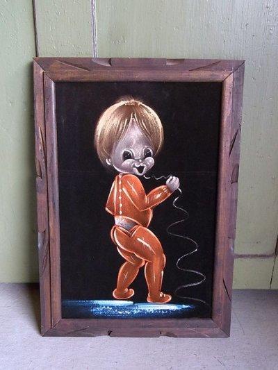 画像1: アンティーク 絵画 ベルベットアート 額縁付 男の子 ビンテージ