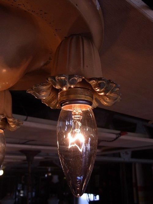 other photographs.3: アンティーク 1930'S シーリングライト 3灯 円形 装飾 フラワーモチーフ ビンテージ