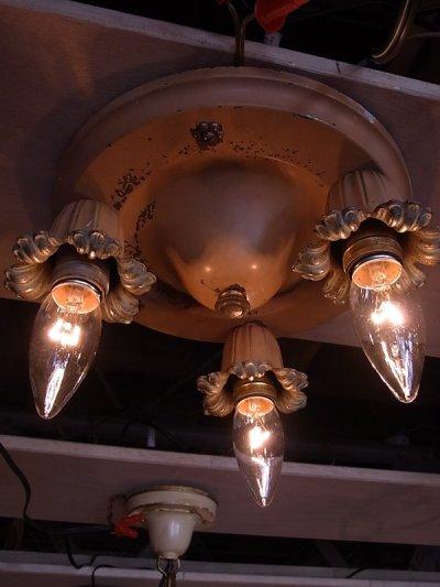 画像2: アンティーク 1930'S シーリングライト 3灯 円形 装飾 フラワーモチーフ ビンテージ