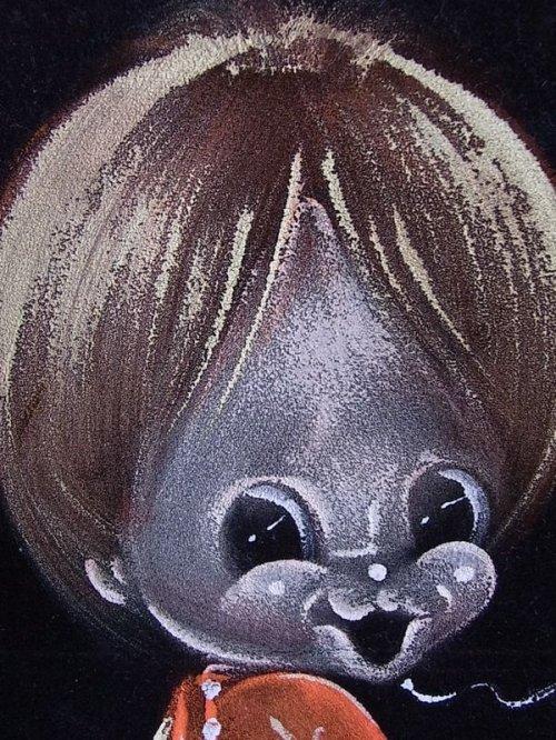 other photographs.1: アンティーク 絵画 ベルベットアート 額縁付 男の子 ビンテージ
