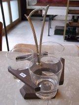 アンティーク スカンジナビアン グラスホルダー グラス付き ウッド 取っ手付き ビンテージ