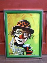 アンティーク ウォールオーナメント 壁掛け絵画 クラウン ピエロ アルミフレーム ビンテージ