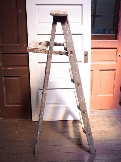 画像1: アンティーク ウッドステップラダー 木製脚立 大型 5段 ビンテージ
