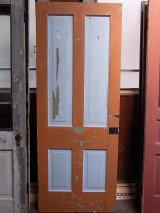 アンティーク 木製ドア テラコッタ×水色×ブラウン ビンテージ